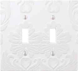 Velvet Flocked Damask White Double Toggle Wallplate
