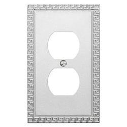 Greek Key Frosted Chrome Cast Metal 1 Duplex Wallplate