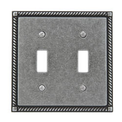 Antique Pewter Finish Solid Brass Double Toggle Wallplate