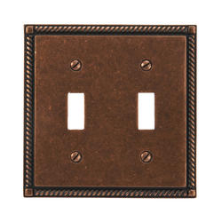 Rustic Copper Finish Solid Brass Double Toggle Wallplate