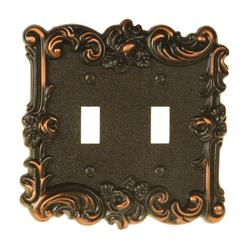 Provincial Aged Bronze Cast Double Toggle Wallplate