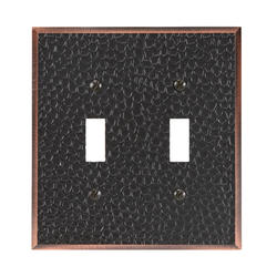 Moroccan Aged Bronze Cast Metal Double Toggle Wallplate