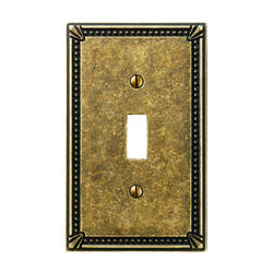 Imperial Bead Cast Metal Tumbled Brass Toggle Wallplate