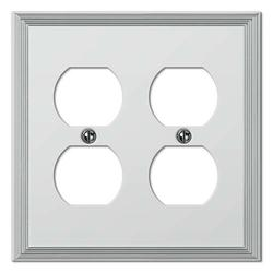 Metro Line Polished Chrome Cast Metal 2 Duplex Wallplate