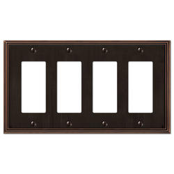 Metro Line Aged Bronze Cast Metal 4 Rocker Wallplate