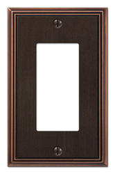 Metro Line Aged Bronze Cast Metal 1 Rocker Wallplate
