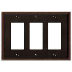 Metro Line Aged Bronze Cast Metal 3 Rocker Wallplate