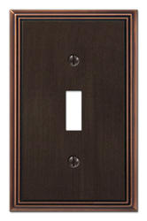 Metro Line Cast Metal Aged Bronze Toggle Wallplate