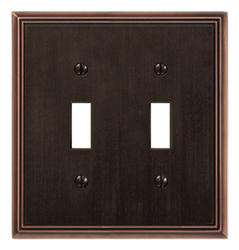Metro Line Cast Metal Aged Bronze Double Toggle Wallplate