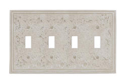 Faux Stone Almond Finish Quad Toggle Wallplate