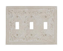 Faux Stone Almond Finish Triple Toggle Wallplate
