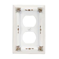 Isabella Antique White Resin 1 Duplex Wallplate