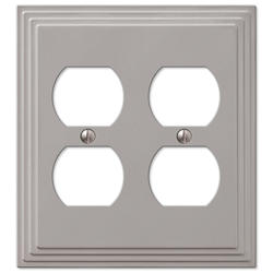 Steps Satin Nickel Cast Metal 2 Duplex Wallplate