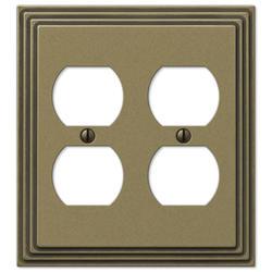 Steps Rustic Brass Cast Metal 2 Duplex Wallplate