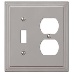 Steps Satin Nickel Cast Metal 1 Toggle 1 Duplex Wallplate