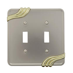 Grayson Cast Metal Satin Nickel with Brass Double Toggle Wallplate