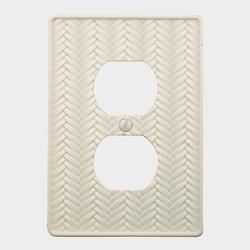 Weave White Cast Metal 1 Duplex Wallplate