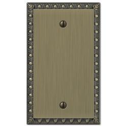 Egg & Dart Brushed Brass Cast Metal 1 Blank Wallplate