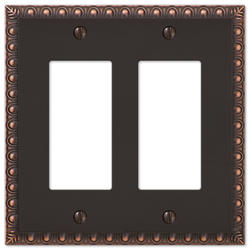Egg & Dart Aged Bronze Cast Metal 2 Rocker Wallplate
