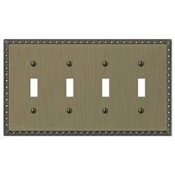 Renaissance Cast Metal Brushed Brass Quad Toggle Wallplate