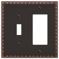 Egg & Dart Aged Bronze Cast Metal 1 Toggle 1 Rocker Wallplate