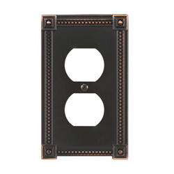 Traditional Bead Cast Metal Aged Bronze Duplex Wallplate