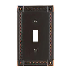 Traditional Bead Cast Metal Aged Bronze Toggle Wallplate