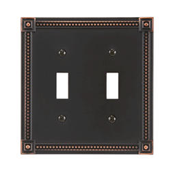 Traditional Bead Cast Metal Aged Bronze Double Toggle Wallplate