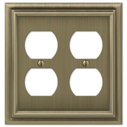 Continental Brushed Brass Cast Metal 2 Duplex Wallplate