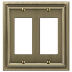 Continental Brushed Brass Cast Metal 2 Rocker Wallplate