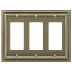 Continental Brushed Brass Cast Metal 3 Rocker Wallplate
