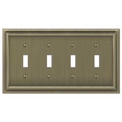 Continental Cast Metal Brushed Brass 4-Toggle Wallplate