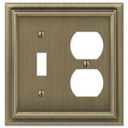 Continental Brushed Brass Cast Metal 1 Toggle 1 Duplex Wallplate