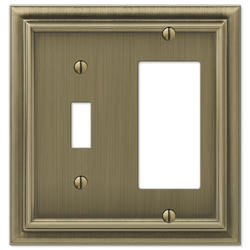Continental Brushed Brass Cast Metal 1 Toggle 1 Rocker Wallplate