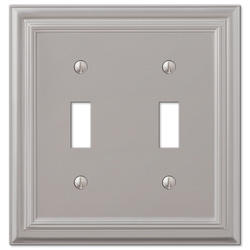 Continental Cast Metal Satin Nickel Double Toggle Wallplate