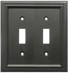Continental Cast Metal Oil-Rubbed Bronze Double Toggle Wallplate