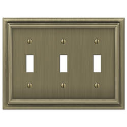Continental Cast Metal Brushed Brass Triple Toggle Wallplate