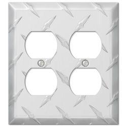 Diamond Plate Aluminum 2 Duplex Wallplate