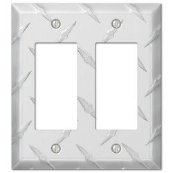 Diamond Plate Aluminum 2 Rocker Wallplate