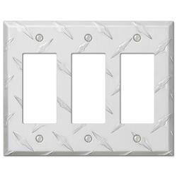 Diamond Plate Aluminum 3 Rocker Wallplate