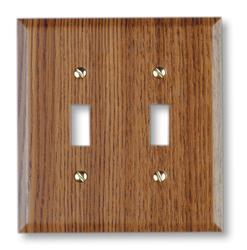 Faux Oak Wood Double Toggle Wallplate