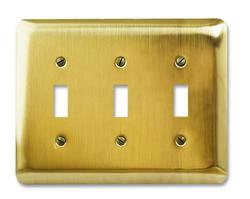 Brushed Brass Triple Toggle Wallplate