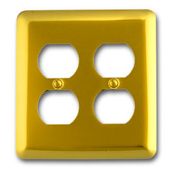 Bright Brass Rounded Corners Double Duplex Wallplate