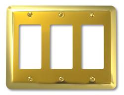 Devon Polished Brass Stamped Steel 3 Rocker Wallplate