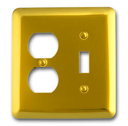 Bright Brass Rounded Corners Toggle Duplex Wallplate