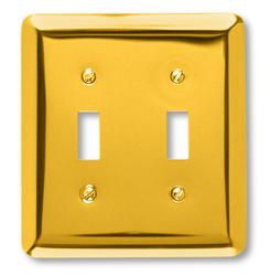 Bright Brass, Rounded Corners, Double Toggle Wallplate