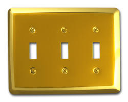 Bright Brass, Rounded Corners, Triple Toggle Wallplate
