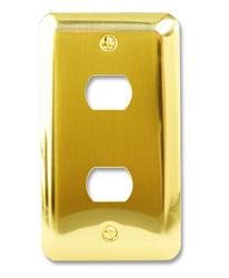 Devon Polished Brass Stamped Steel 2 Despard Wallplate