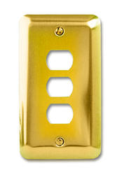 Devon Polished Brass Stamped Steel 3 Despard Wallplate