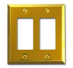 Century Polished Brass Stamped Steel 2 Rocker Wallplate